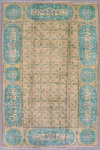 6X9 Antique Cotton Indian Agra Rug Hand-Knotted Oriental Carpet, circa 1930