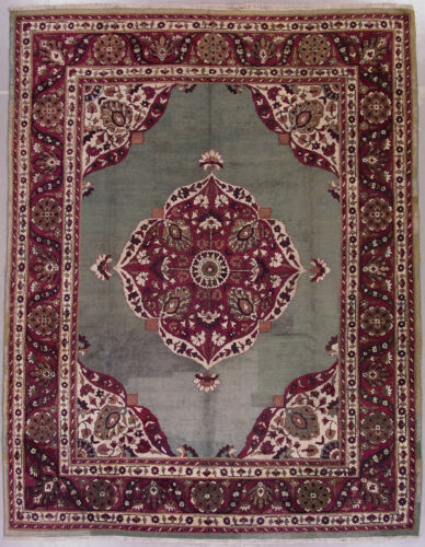 Green 9X11 Antique Agra Oriental Hand Knotted Wool Area Rug w/ Abrash Carpet