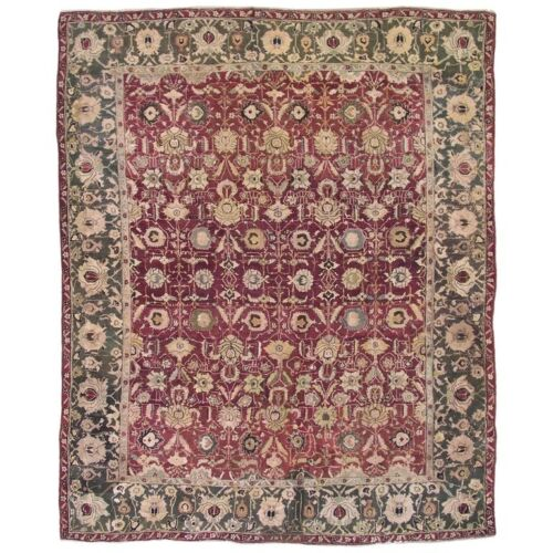 Antique 8X10 Burgundy Agra Area Rug c. 1890 Indian Hand-Knotted Wool (7.11 x 9.7