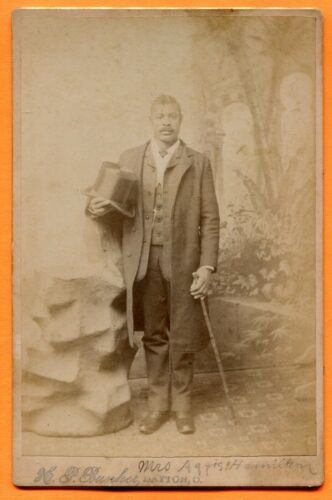 Dayton, OH, Portrait of a Young Black Man with Top Hat, by Bunker, circa 1880s