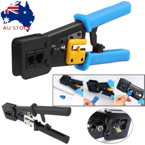 EZ-RJ45 Crimper Tool Cat5e Cat6 Connector Crimping Tool End Pass Through RJ11/12