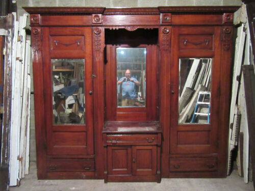 ~ ANTIQUE CARVED OAK CLOSET FRONT BUILT IN ARMOIRE PANTRY ~ 109 X 91 ~ SALVAGE