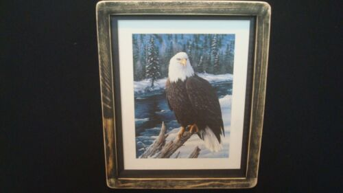 "Primitive Country Print *AMERICAN BALD EAGLE* black frame 9 1/2"" x 11 1/2"""