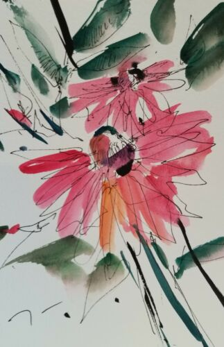 """JOSE TRUJILLO PINK FLOWERS DECOR ABSTRACT Watercolor PAINTING SIGNED - 6X9"""""""