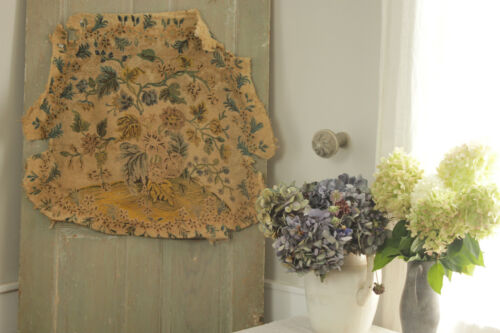 Antique French Tapestry hand embroidered needlepoint floral chair seat Fabric