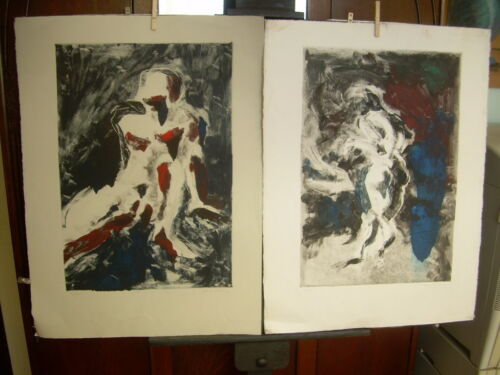 2 NICK MULLANEY 1994 Monotype SIGNED Nude Man Woman Pair in manner of Peter Doig