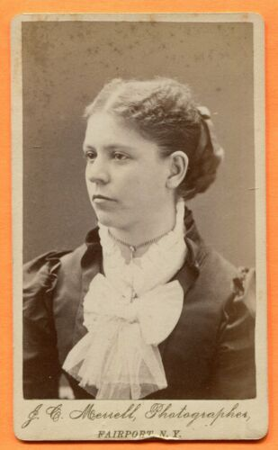 CDV Fairport, NY, Portrait of a Young Woman, by Merrell, circa 1870s
