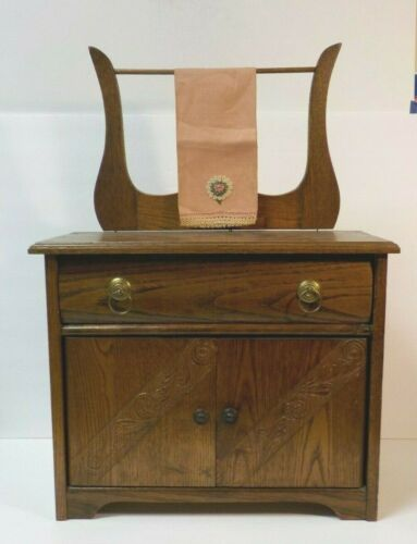 Vintage Oak Hand Made Miniature Child's Country Washstand, c. early 20th C.