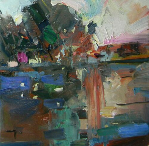 """JOSE TRUJILLO - OIL PAINTING Impressionism MODERN Marsh COA FAUVISM ABSTRACT 12"""""""