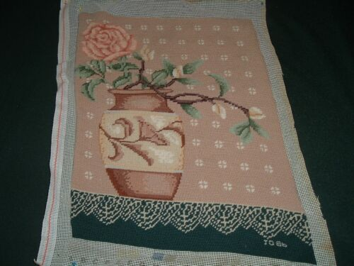 Vtg 50s Victorian Peach Rose In Vase Completed Nice Work Needlepoint 13x10 #lk3