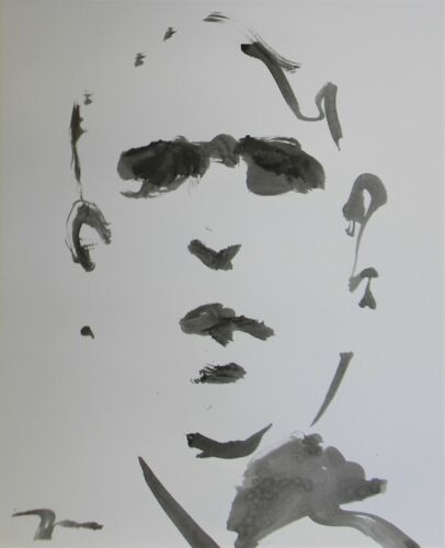JOSE TRUJILLO - NEW Black INK WASH on Paper Collectible 14x17 Minimalist Face