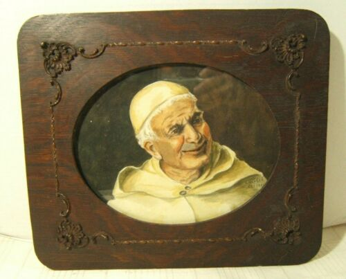 ANTIQUE WATERCOLOR 1901 OF MONK WITH VERY NICE FRAME