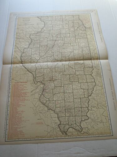 ONE (1) 1923 RAND McNALLY; STANDARD & RAILROAD MAP of ILLINOIS; GREAT DETAIL