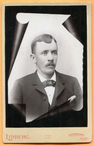 Ishpeming, MI, Portrait of a Young Man, by Lidberg, circa 1880s Backstamp