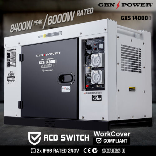 GENPOWER 8.4kVA Max 6kVA Rated Diesel Generator Single Phase Commercial RCD <br/> NO.1 IN GENERATORS Class Leading Diesel - RCD protected