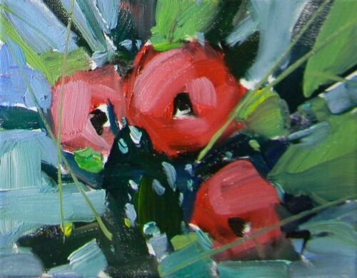 """Signed ORIGINAL OIL PAINTING 8X10"""" Collectible Red Flowers Art By JOSE TRUJILLO"""