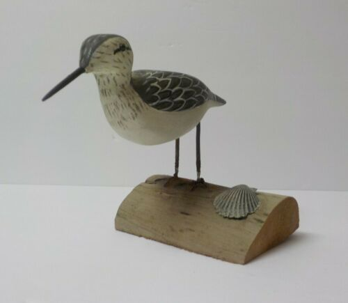 "Hand Carved & Painted 4.75"" Shore Bird, signed Dot Quillen (#4)"
