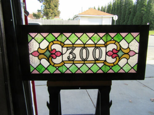 ~ ANTIQUE STAINED GLASS TRANSOM WINDOW ~ 42 x 19 ~ ADDRESS 300 ~ SALVAGE