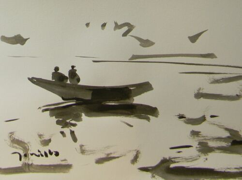 JOSE TRUJILLO - MODERNIST ABSTRACT EXPRESSIONIST INK WASH LAKE ROW BOAT FIGURES