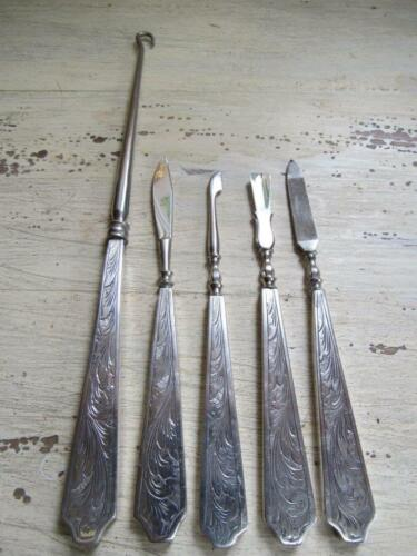 Antique 800 Silver 5 Piece Nail Manicure Vanity Groom Set