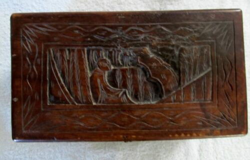 Antique 1800's or 1900's Asian Hand Carved Wood Box w/ Hardware