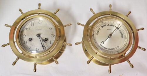 .Antique Waterbury U.S.A Heavy Brass Ships Wheel Clock & Barometer Set