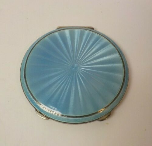 English Sterling Silver, Blue Guilloche Enamel Ladies Compact