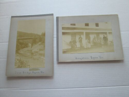 (2) LATE 1800s EARLY 1900s CABINET CARDS, BYRON MAINE, CO-OS BRIDGE & HOUGHTON'S