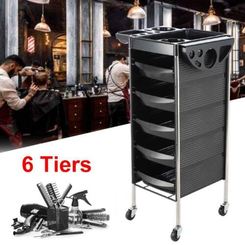 6 Tier Beauty Spa Hairdresser Coloring Hair Salon Trolley Rolling Storage Cart