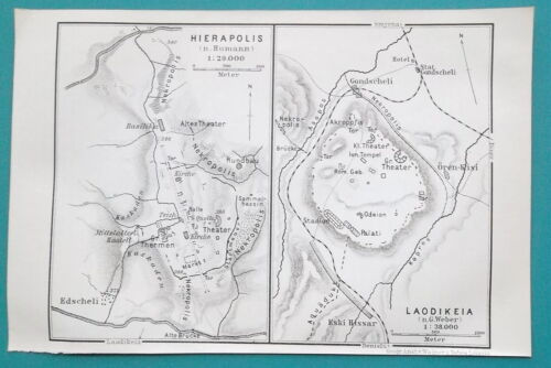 "TURKEY Plan of Hierapolis & Laodicea - 1914 MAP Baedeker 4 x 6"" (10 x 15,5 cm)"