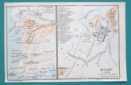 "MILETUS Turkey City Plan & Environs - 1914 MAP Baedeker 4 x 6"" (10 x 15,5 cm)"