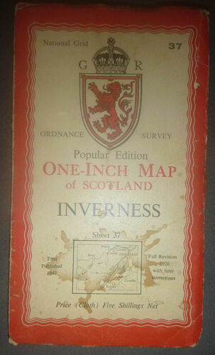 LOCH NESS - Cloth Map - INVERNESS - SCOTLAND - 1947 - Cromwell Fort - Citadel