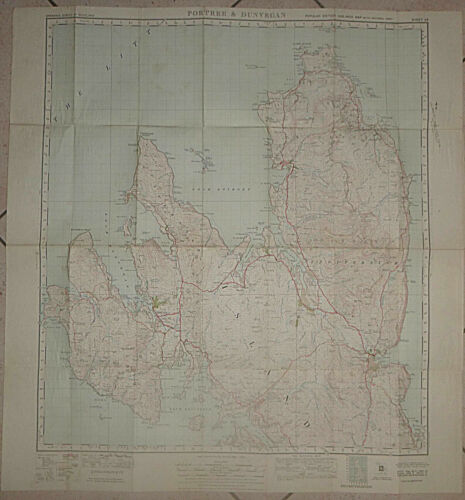 ISLE of SKYE - Cloth Map - PORTREE and DUNVEGAN - SCOTLAND - 1947 - Staffin Bay