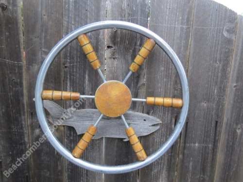 Authentic 18 inch Chrome & Wood Boat Wheel -(XR8-1416)