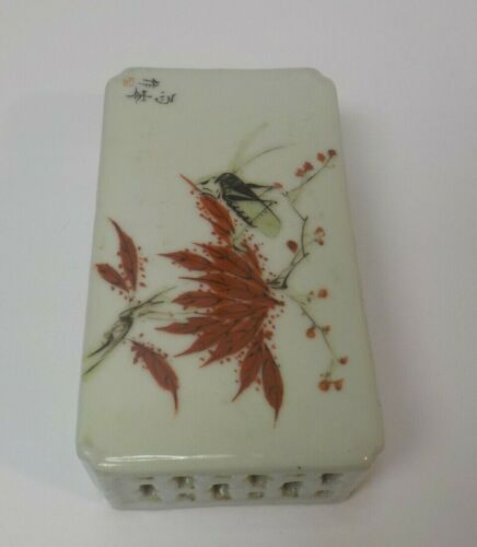 19th C. Chinese Porcelain Cricket Box Shaped Stand / Platform, Grasshopper