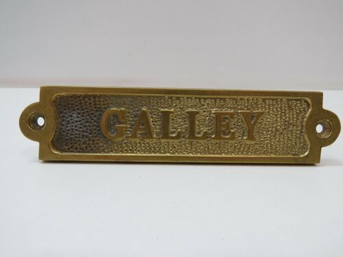 """1+1/4 x 5+1/2 Inch Aluminum Plated With Brass """"GALLEY"""" Sign -(B5C294)"""