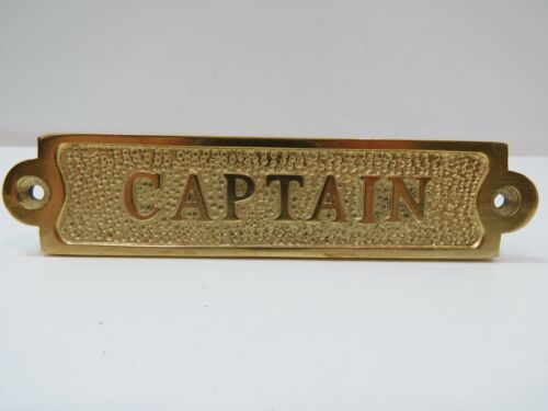 """1+1/4 x 5+1/2 Inch Aluminum Plated With Brass """"CAPTAIN"""" Sign -(B5C296)"""