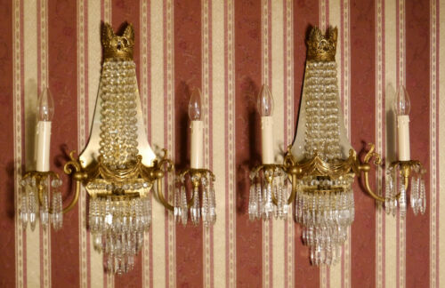HUGE EMPIRE GOLD BRONZE WALL LAMPS SCONCES PEARLS CHAINS OLD 3 LIGHT