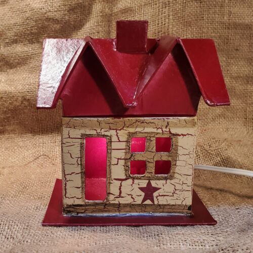 Primitive Crackle Tan & Burgundy Star Lighted Small House Country Decor