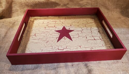NEW! Primitive Crackle Tan & Burgundy Star Wood Tray Country Decor