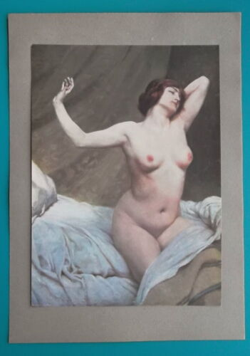 NUDE Young Woman Stretching in Bed after Waking Up - COLOR Antique Print