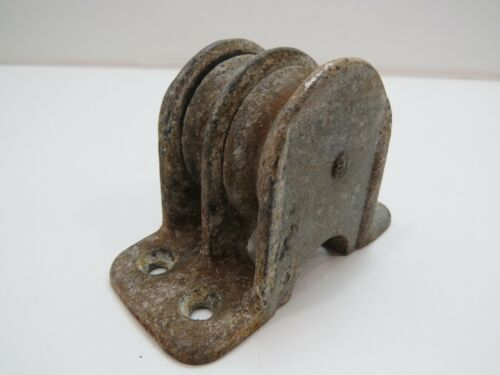 Wilcox Crittenden Cast Iron Deck Double Pulley 2 inch Wheel Cable Rope (C4B371)