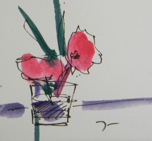 """JOSE TRUJILLO ORIGINAL Watercolor Painting SIGNED Small 3x3"""" Pink Floral Bouquet"""