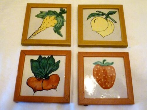 SET 4 Framed WALL TILE PLAQUES Talavera ART POTTERY Parsnip Beets FRUIT Mexico