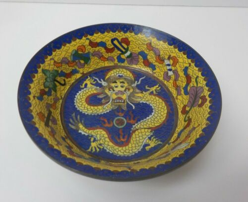 "19th C. Chinese Cloisonne on Bronze 6.75"" Colorful Dragon Bowl"