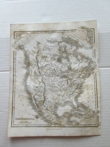 """ONE (1) 1834 MAP of """"NORTH AMERICA"""" from M. MALTE BRUN, SYSTEM of GEOGRAPHY"""