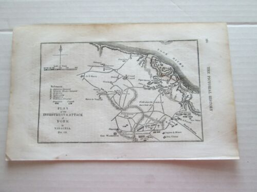 """ONE (1) 1847 MAP"""" from PICTORIAL HISTORY AMERICAN REVOLUTION, """"YORK, VIRGINIA"""""""