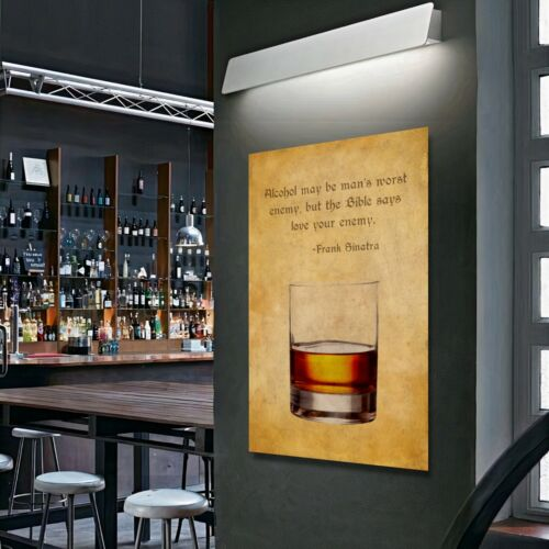 OLD WHISKY GLASS Collection Quote Home Bar Wall Art Print Decor POSTER CANVAS I