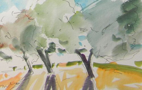 JOSE TRUJILLO Signed Watercolor on Paper Painting Impressionism Orchard Noon Sky