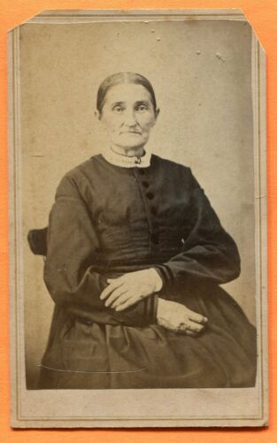 CDV West Unity, OH, Portrait of a Lady, by Fisher, circa 1870s Backstamp